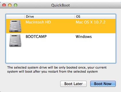 Come passare rapidamente da OS X a Windows, gratuitamente, con QuickBoot