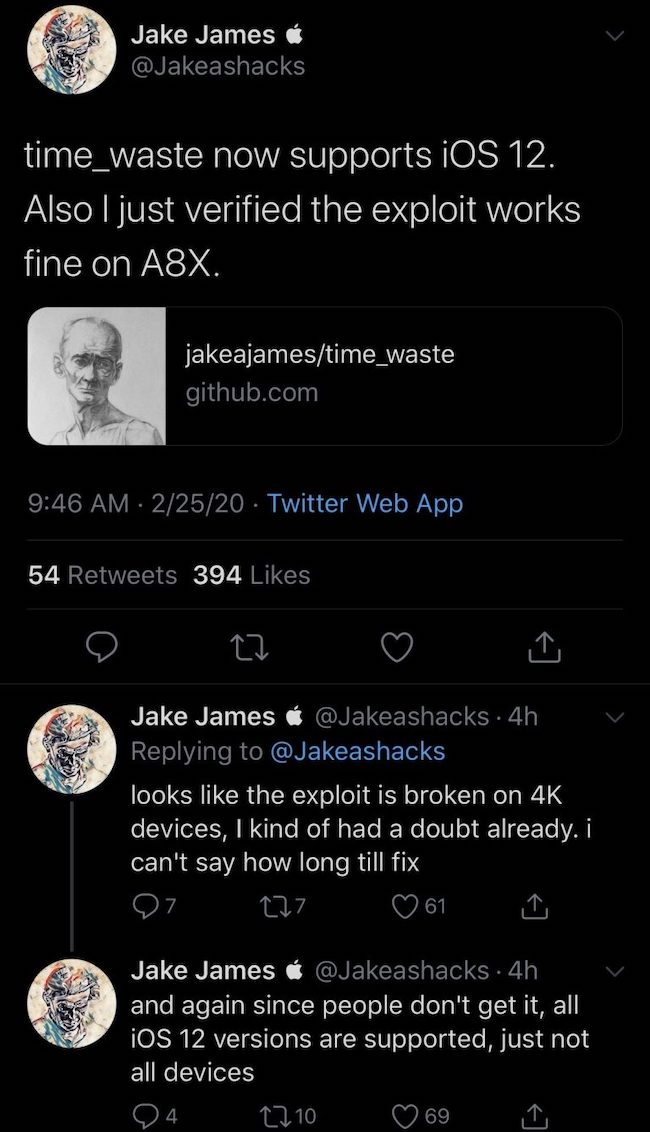 jake james, exploit, ios 12, ios 13, uncover, time waste
