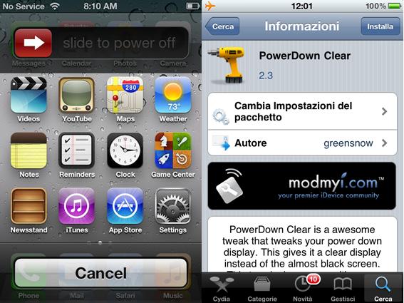 PowerDown Clear permette di utilizzare il vostro iDevice anche dalla schermata di spegnimento
