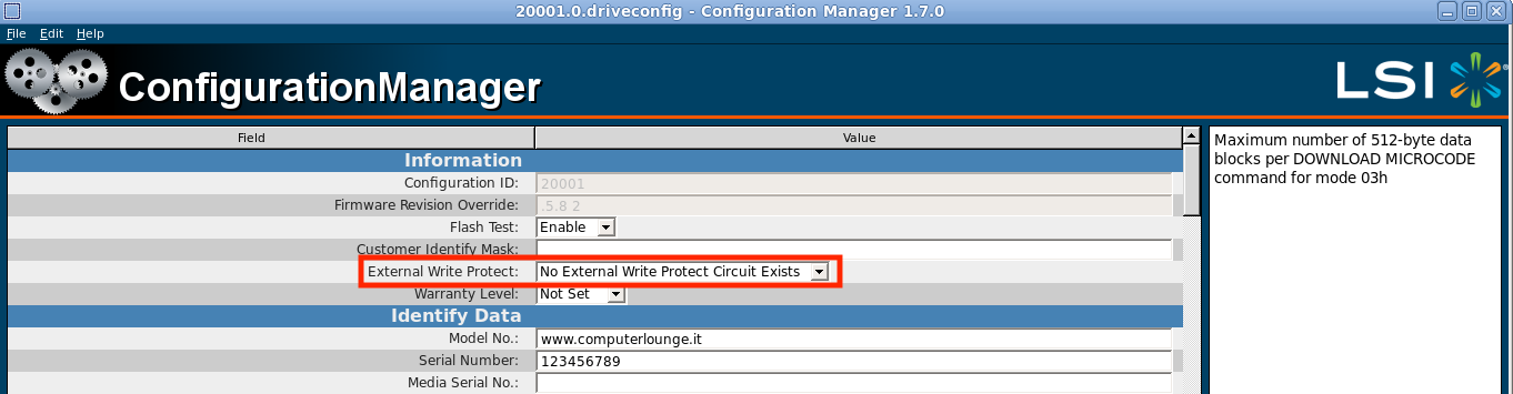 Setting write project to External to fix  Root Creation Failed (MFB format) in  SandForce ConfigurationManager to unbrick SSD SandForce