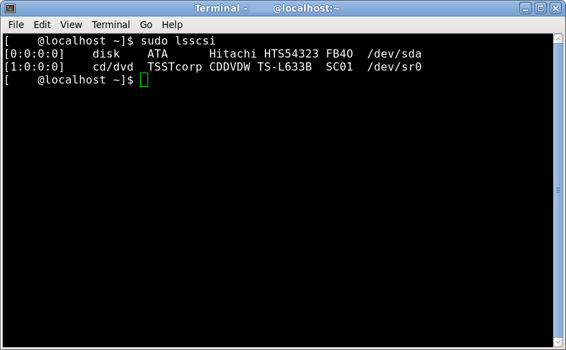 Terminal sudo lsscsi command to find bricked SSD address to unbrick ssd SandForce bug
