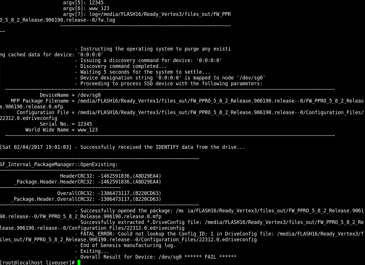 Correcting edriveconfig spelling mistake to avoid Could not lookup the Config_ID error in SandForce Genesis to unbrick SSD