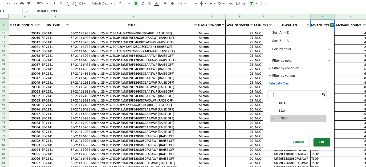 Document to find config id to ubrick ssd from SandForce bug