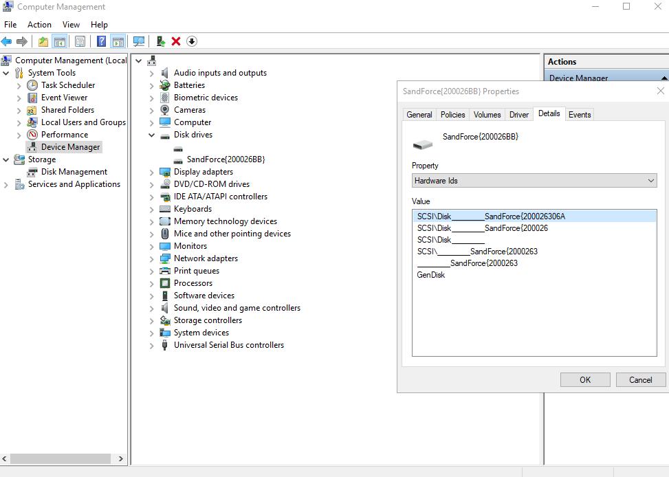 SandForce bug, Windows Device Manager shows SandForce {200026BB}