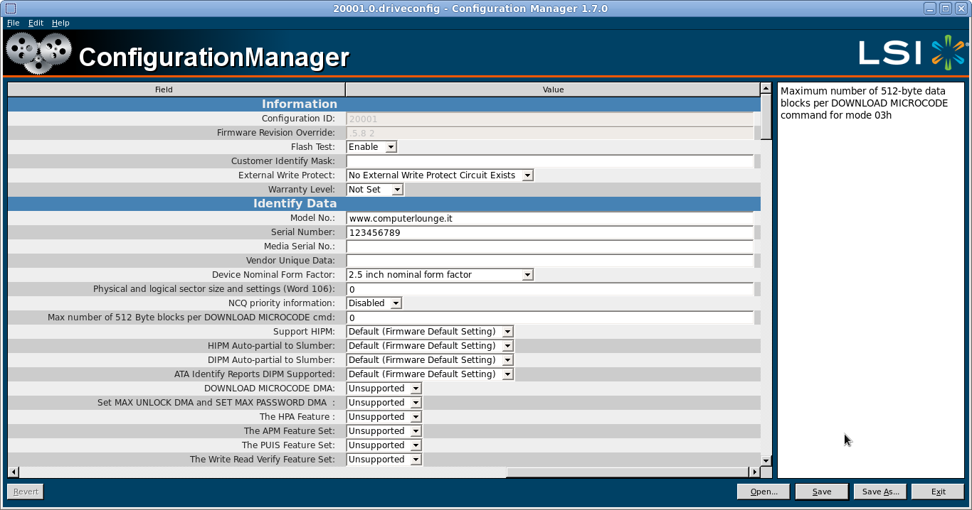 SandForce Configuration Manager to create driveconfig file to unbrick ssd